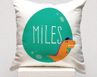 Personalised Cushion - Green Dinosaur