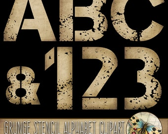 Grunge Stencil Alphabet Clipart, Distressed Alphabet, Tattered Paper Letters, Uppercase Letters + Numbers + Punctuation