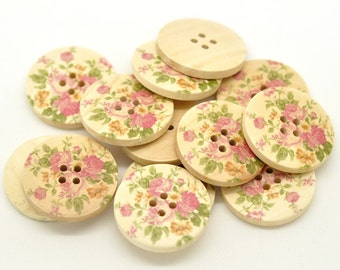 Delicate Rose Design Wooden Buttons 30mm.  Sewing Knitting Scrapbook and other craft projects