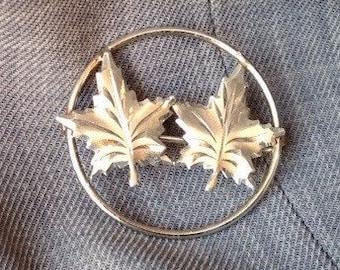 Vintage Ladye Fayre Sterling Silver Brooch, twin maple leaves