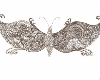 HENNA BUTTERFLY (available in original Henna hue or black-and-white)