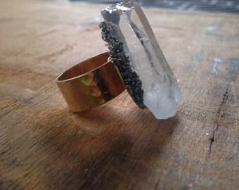 Clear Quartz Pyrite Encrusted Ring