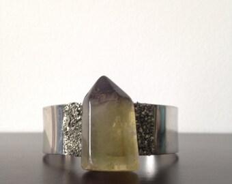 Green Citrine Pyrite Encrusted Cuff