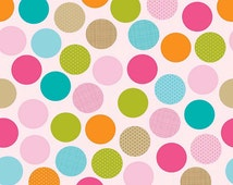 Dot Flannel Fabric, Riley Blake Fabric F3621 Pink Summer Breeze, Riley Blake Flannel, Multi-color Big Dots, Dot Fabric, Girl Quilt Fabric