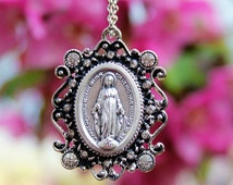 Miraculous Medal necklace, Miraculous Medal, Virgin Mary, Rhinestone Miraculous Medal necklace, Christian Jewelry, Catholic Jewelry