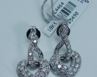 Sale 3472 Dollars Estate 18K White Gold 1.99ct Diamonds Heart shaped Earring