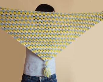 Crochet Shawl In Stripes (yellow,cream,babyblue) / Striped hand crochet shawl