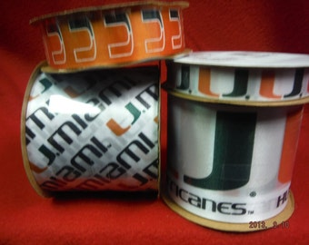 Offray 4-Pack University of Miami Hurricanes Ribbon, NCCA ribbon White/Orange/Green