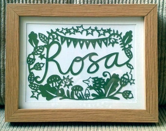 Personalised Woodland Baby Name Papercut