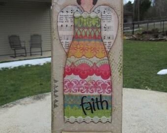 Faith Angel Mixed Media Canvas Art 4 x 12