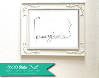 Printable Pennsylvania State Art Print 8x10 Digital Wall Art Gift