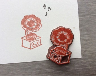 gramophone stamp. hand carved stamp. rubber stamp.mounted.