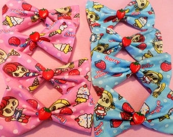 Sweet doll STRAWBERRY ICECREAM hair BOW pink or blue