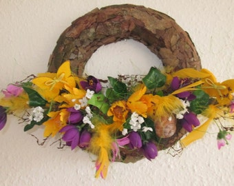 Spring wreath, wreath on the door,  the decoration on the  wall
