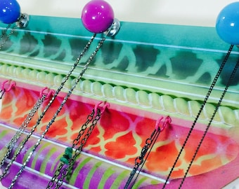 Jewelry Storage Crown Molding Geometric Wall Art Necklace
