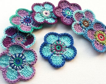 Crochet flower applique 8PCS in blue and purple shades decoration trimming embelishments