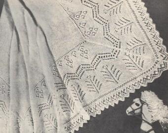 Vintage knitting pattern, baby shawl. Marigold