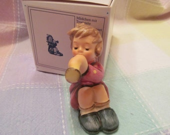 Hummel   Girl with Trumpet   Figurine  1989   Vintage Collectable