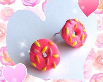 Donut Earrings, Doughnut Earrings, Donut Stud Earrings, Pink Frosting Donut Earrings, Sprinkle Donut Earrings, Kawaii Donut Earrings