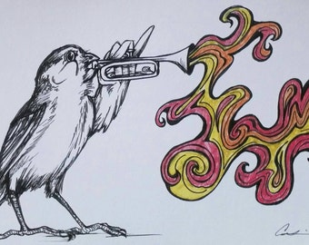 Sparrow and Trumpet 5x7in Art Print