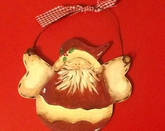 Country santa ornament, santa ornament, santa tree ornament, christmas ornament, christmas tree ornament, holiday santa ornament