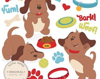 Professional Large Puppy Dog Clipart & Vector Set - Dog Clipart, Puppy Clipart, Puppy Clip Art, Cute Dog Clipart, Dog Vectors, P