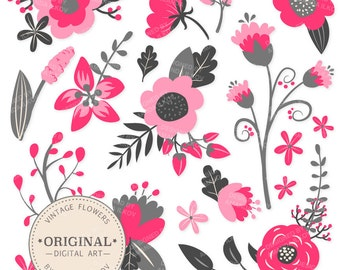 Premium Hot Pink Floral Clipart & Flower Vectors - Pink Flowers, Vintage Flowers, Flower Clip Art, Vector Flowers