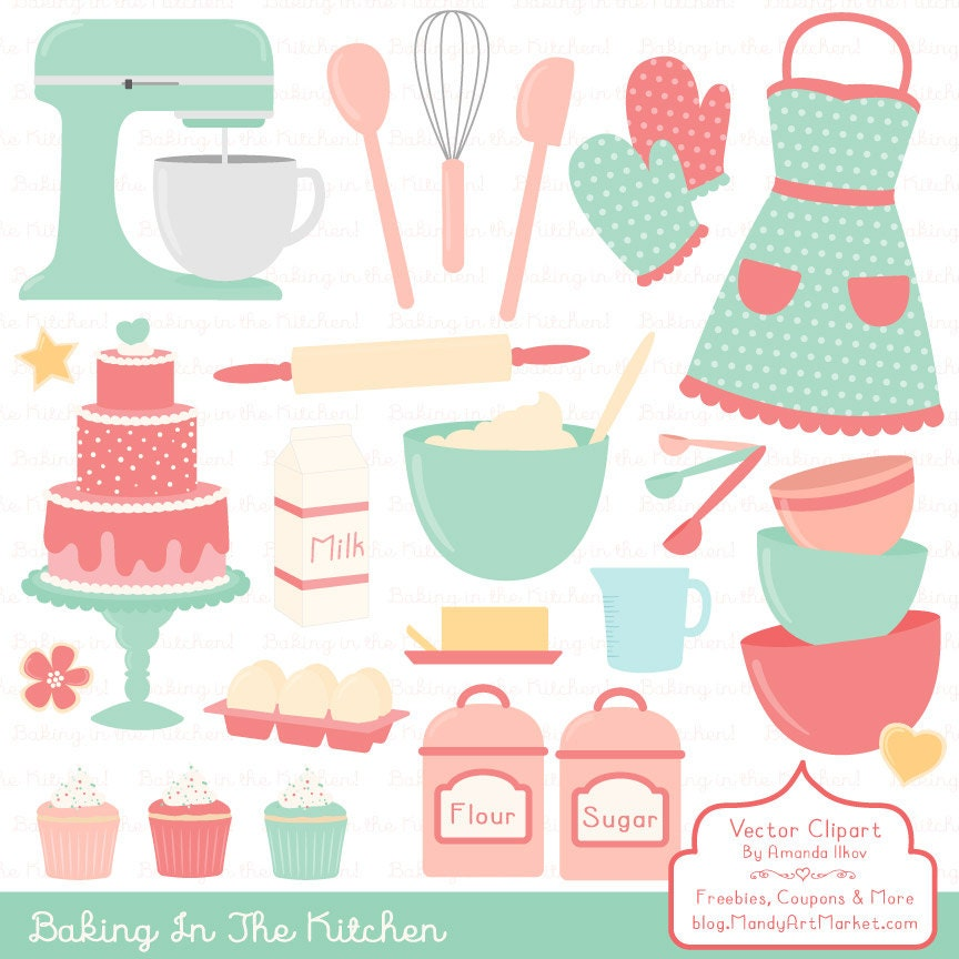 Professional Baking Clipart & Vectors in Mint and Coral