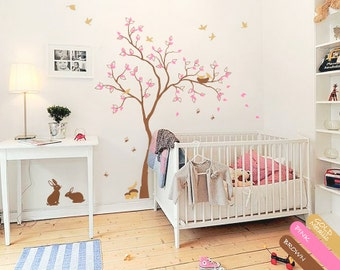 Tree wall decal rabbit wall sticker Tree wall mural sticker nursery wall decal mural vinyl wall decal tree with birds wall decor - 074