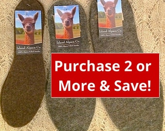 100% Alpaca Felted Shoe or Boot Insoles, Shoe Liner. Keeps Feet Warm, Comfortable, Dry. On Sale! Made in the USA by Our Local Fiber Coop.