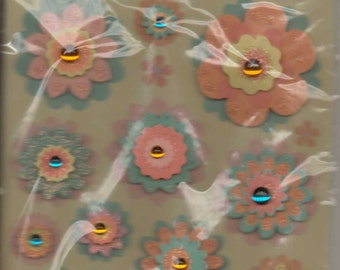 Kurio ORANGE & TEAL FLOWER Dimensional Stickers