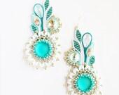 Soutache earrings, Flower earrings, Swarovski earrings, Beaded Soutache, Embroidered Jewelry, embroidered earrings,long earrings,