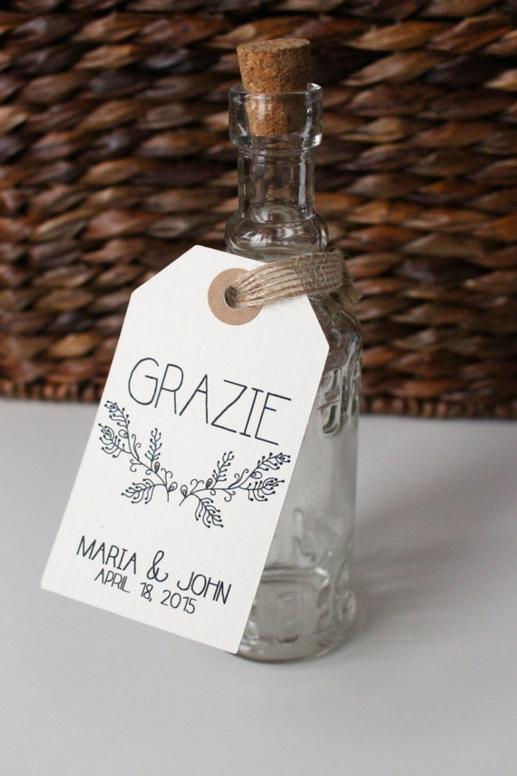 Wedding Favor Tags - Grazie. Set of 20 Tags. Handmade Custom Tags. 3.5 ...