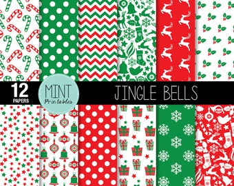 Christmas Scrapbooking Paper, Christmas Digital Paper, Red green Patterned, Printable Sheets background backgrounds - BUY 2 GET 1 FREE!