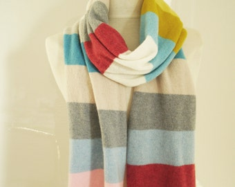 Knitted Lambswool Scarf handmade in Greenwich London with British Spun Wool - Cheerful Multi Coloured Stripe Design
