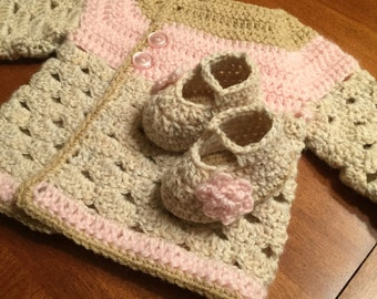 6 month girl Sweater with matching booties.