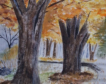 Art and collectibles,watercolor painting,painting of trees,autumn trees, scenic and landscape,painting of autumn trees, autumn tree painting