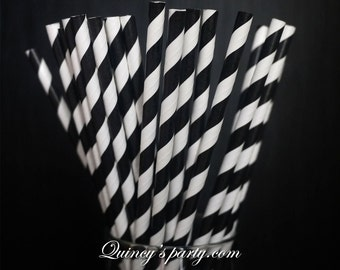 Stripe Paper Straws - Black