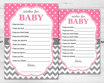 Grey & Pink Wishes For Baby - Instant Download: baby girl, turquoise, chevron, polka dot, grey, white