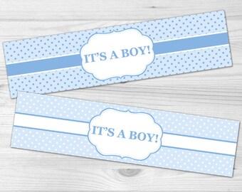 Water Bottle Label - DIY Printable Baby Shower Label: baby boy, polka dot, blue, white
