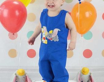 Dumbo Birthday Longalls,Circus Jon, Applique Circus Jon
