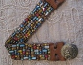 Go With Anything!!! Sage, Denim Blues, Turquoise, Goldenrod, Browns, Cranberry Hand Loomed Beaded Bracelet, Leather End Tabs, Bronze Button