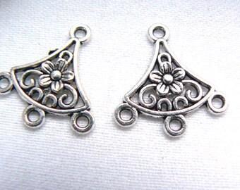 Earrings findings oxidized silver antique brass metal component  20x19mm -4pieces -Jewelry findings supply -fan earrings findings