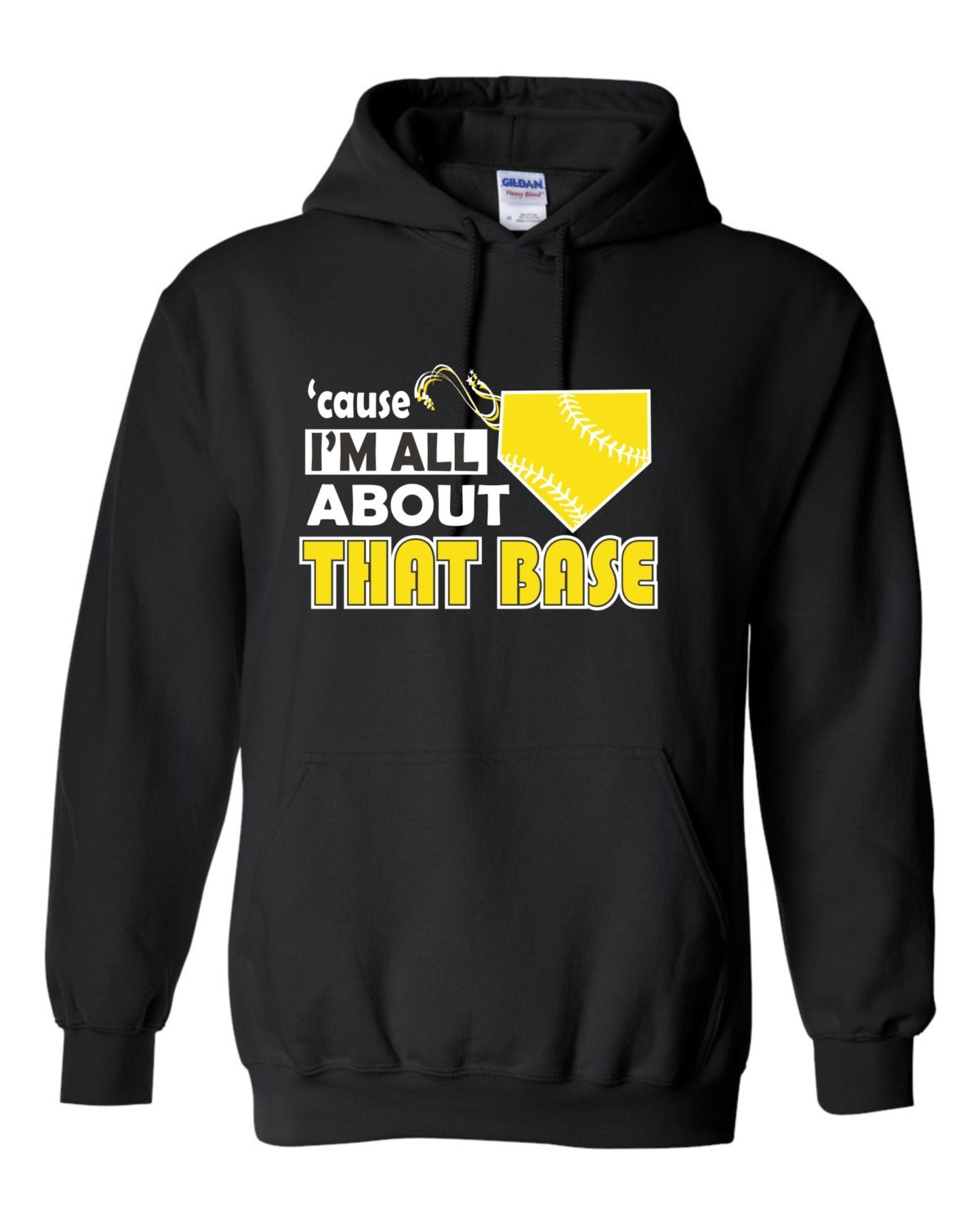 Cause i m all about that base girls softball hoodie by ncwdesigns