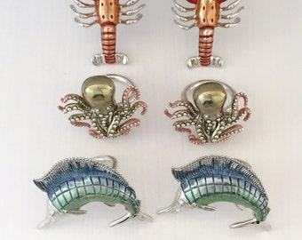 8 St. John Marine Napkin Holders - Table Decor, Lobster, Marlin, Octopus, Crab, Shower, Nautical, Yacht, Sea, Wedding, Gift, Nautical Rings