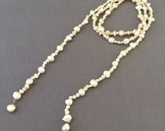 Vintage Baroque Fresh Water Pearl and Sterling Silver Lariat Necklace - Wedding, Bridal, Mother of the Bride, Bridesmaid