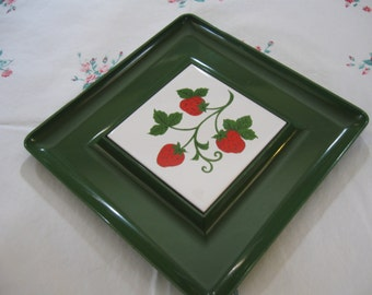 Retro Wolen Japan Green Plastic Square Tray or Cheese Server with Strawberry Ceramic Tile; Mid-Century Modern