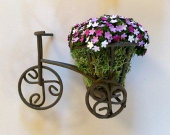 Miniature Dollhouse Rustic Tricycle Planter With Assorted Purple Flowers - One Inch Scale - Fairy Garden - Miniature Flowers - Miniatures