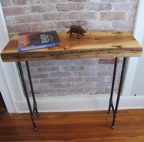 Industrial Console With Iron Pipe LegsReclaimed Wood From