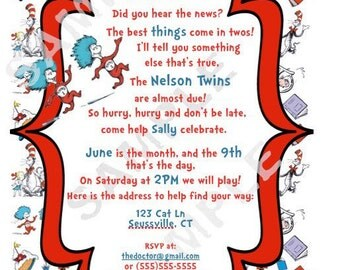 Set of 10 Dr. Seuss Baby Shower Invitations Twin Thing 1 & Thing 2 themed Physical Item Not Digital Download